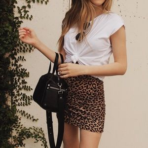 OLIVACEOUS RIBBED LEOPARD MIDI
